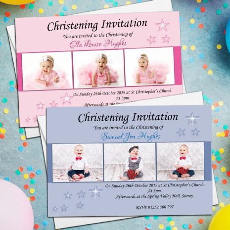 10 Personalised Girls Boys Christening Baptism Photo Invitations Invites N9/10